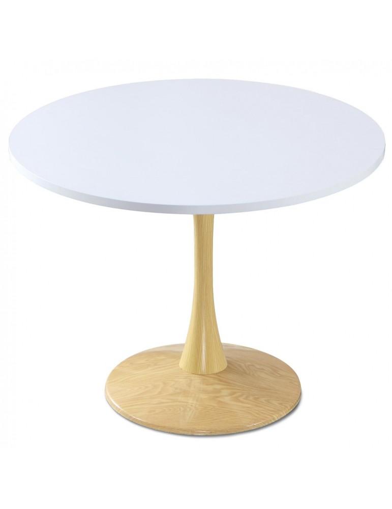Table ronde Necy Chêne et Blanc 100 x 100 x 74 cm a19oakwhite