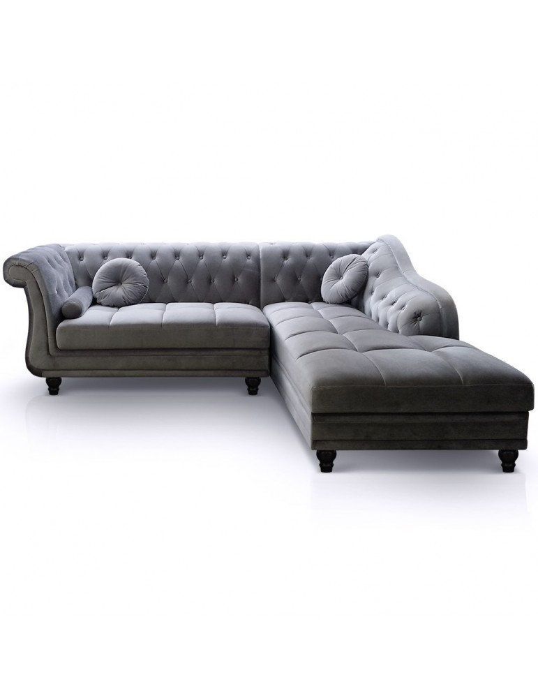Canapé d'angle Brittish Velours Argent style Chesterfield a968vgargent