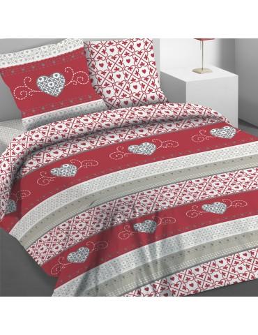 Parure de lit 2 personnes avec housse de couette et 2 taies d'oreiller Cosy Rouge 240 x 220 3765030503Les Ateliers du Linge