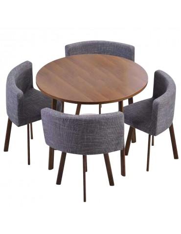 Table ronde et chaises Riga Chêne Foncé et Tissu Gris f808darkoakgrey