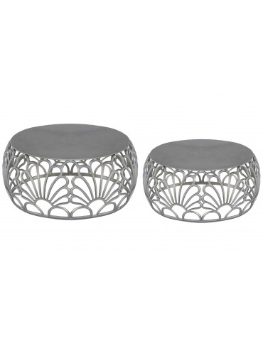 Lot de 2 tables basse Amarena Nickel 35219nickel