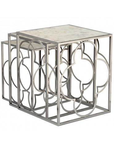 Lot de 3 tables gigognes Clover Nickel 35657nickel