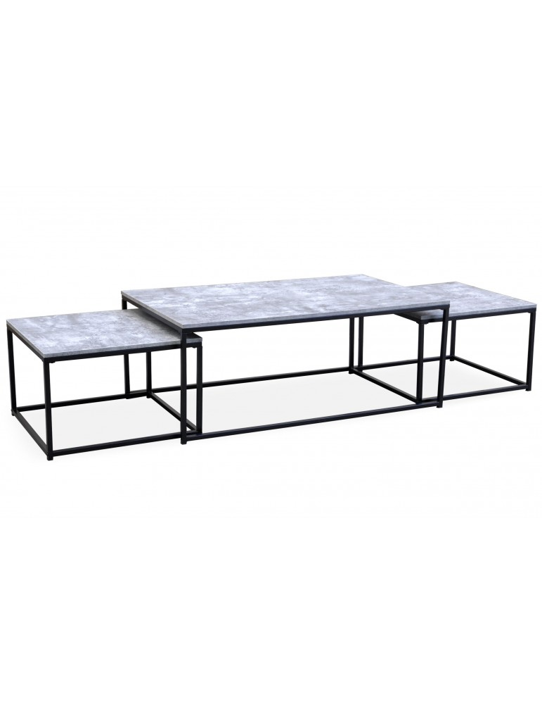 Table basse + 2 gigognes Carolina Effet Béton ks3180concrete
