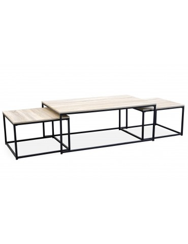 Table basse + 2 gigognes Carolina Chêne Clair ks3180lightoak