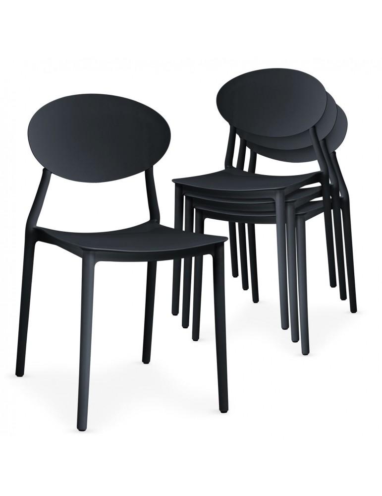 Lot de 4 chaises empilables Balagan Noir dc1801black