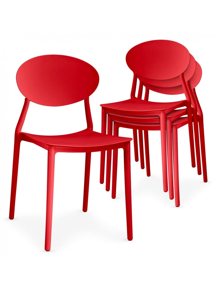Lot de 4 chaises empilables Balagan Rouge dc1801red