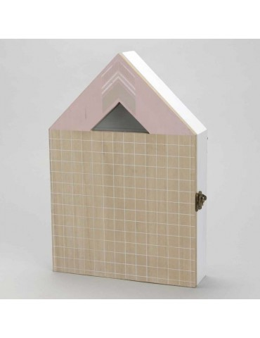 Boîte àclefs forme maison en bois rose et blanc H34cm OSLO DRA3343115Amadeus