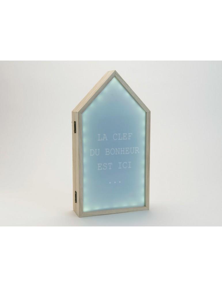 Boite àclé lumineuse forme maison en bois MDF bleu H.36cm HOUZ DRA3520006Amadeus