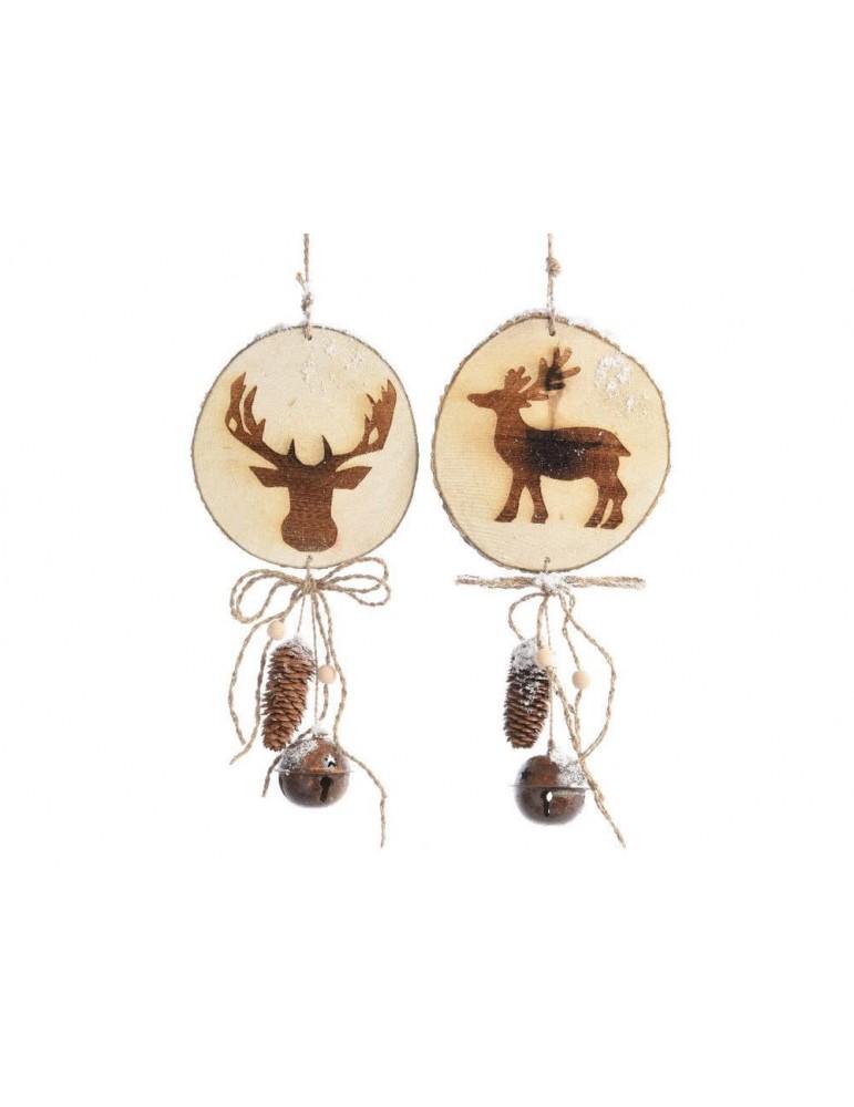Set de 2 suspensions en bois animaux assortis et cloche en fer 44x20x6cm BRUT DEO3705129