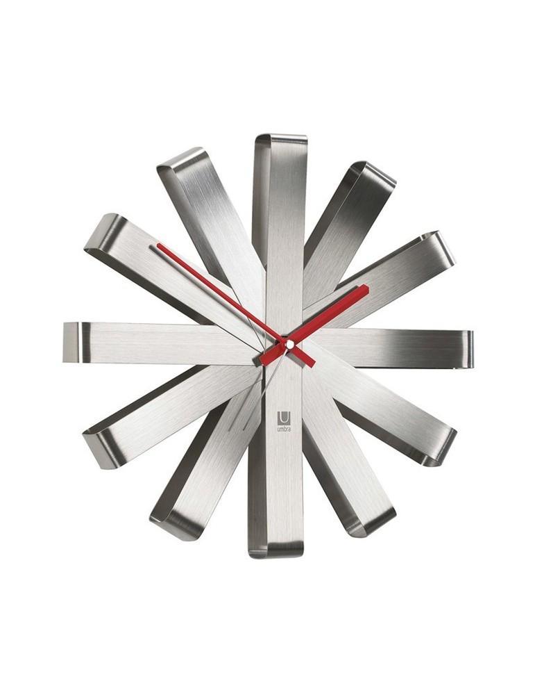 Horloge murale en métal acier forme flocon D.30.5cm RIBBON DHO3189218Umbra