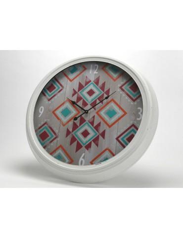 Horloge murale ronde en métal et verre motif navajo ethnique multico D.63cm GYPSET DHO3520043Amadeus