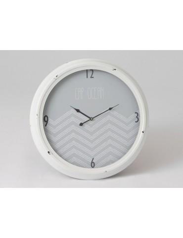 Horloge murale ronde en métal et verre motif chevron gris D.63cm bleu BAY DHO3520044Amadeus