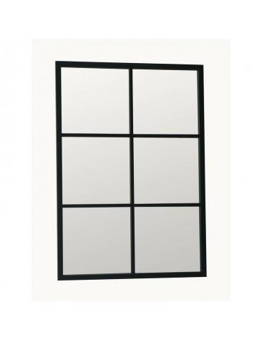 Miroir fenêtre rectangulaire noir en métal brossé 6 carreaux 70x100cm TEKE DMI4356007Delamaison