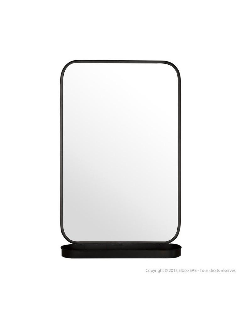 Miroir mural avec étagère en métal noir 77.5x50.5x15cm CERMIN DMI2971007Delamaison