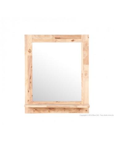 Miroir mural en hévéa massif avec étagère et crochets 74 x 60 cm BERGEN DMI3167031Delamaison