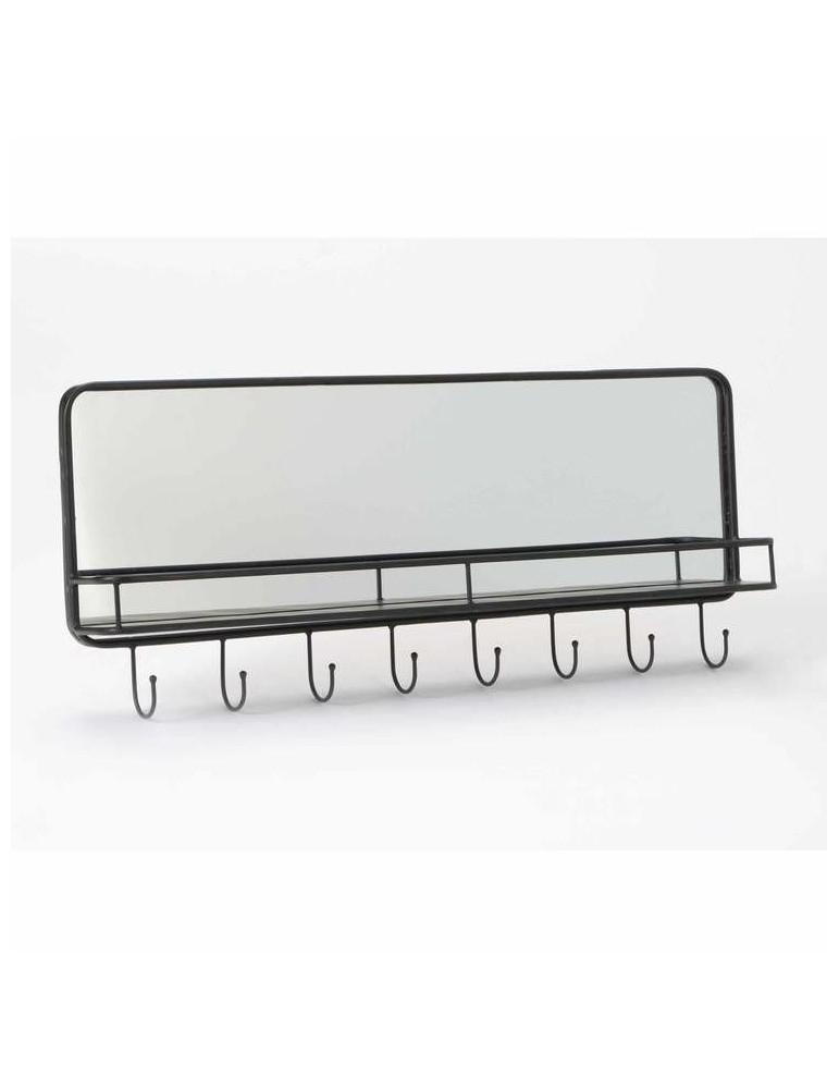 Miroir et patère en métal avec tablette noir L.87cm SCHOOL DMI3343131Amadeus