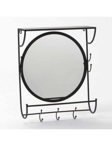 Miroir rond 3 patères en dessous et 4 encadrant + tablette WELCOME DMI3343139Amadeus