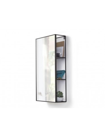 Miroir rectangulaire avec étagère de rangement en métal 30.5x12.9x60.9cm CUBIKO DMI3742021Umbra