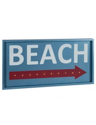 Cadre décoratif LED en bois Beach bleu et blanc QUADRO DMR3566076Sphère Inter