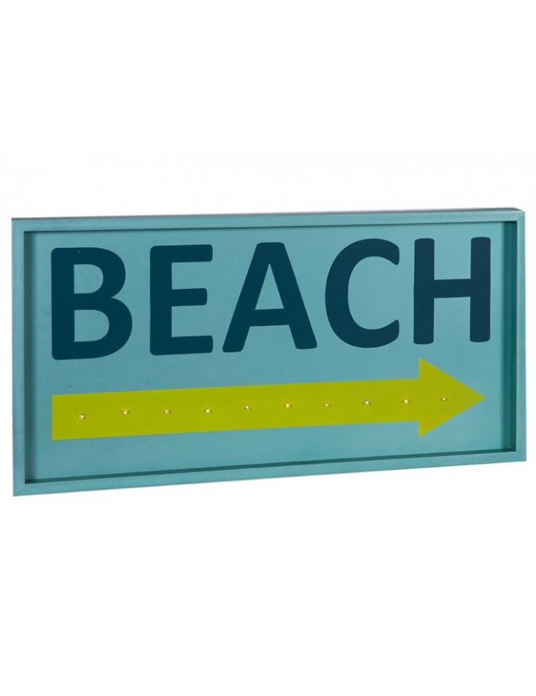 Cadre décoratif LED Beach en bois bleu QUADRO DMR3566077Sphère Inter