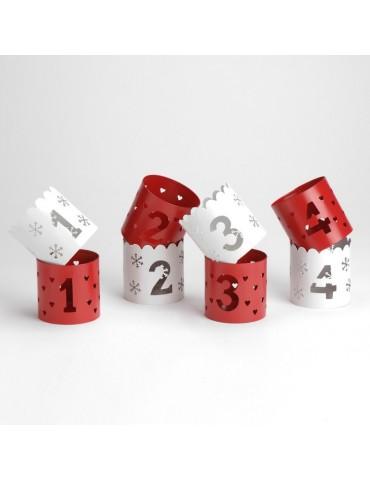 Photophore en métal avec numérotation rouge et blanc (Lot de 8) CELEBRATION DEC2993229