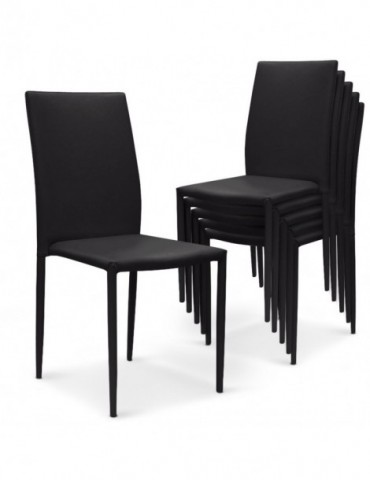 Lot de 6 chaises empilables Modan Simili (P.U) Noir a84pulot6noir