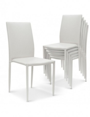 Lot de 6 chaises empilables Modan Simili (P.U) Blanc a84pulot6blanc