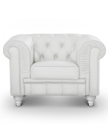 Fauteuil Chesterfield Blanc A605-1-Blanc