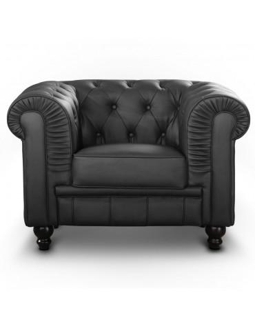 Fauteuil Chesterfield Noir A605-1-Noir
