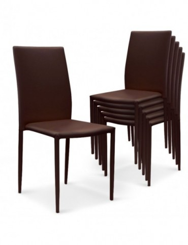 Lot de 6 chaises empilables Modan Simili (P.U) Marron a84pulot6marron