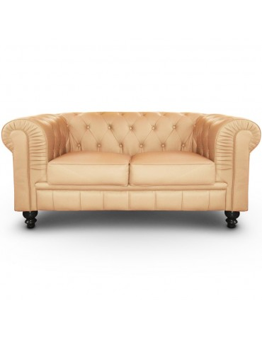 Canapé 2 places Chesterfield Beige A605-2-Beige