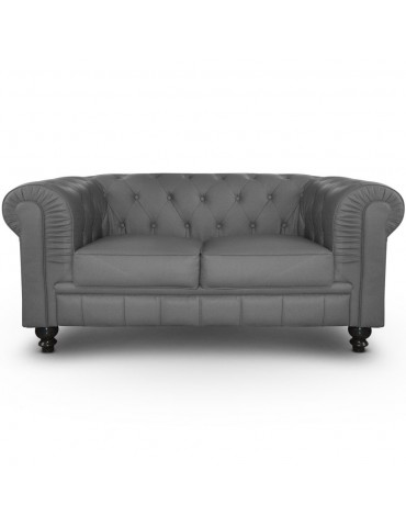 Canapé 2 places Chesterfield Gris A605-2-Gris