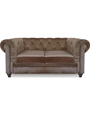 Canapé 2 places Chesterfield Velours Taupe A605V2-Taupe