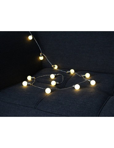 Guirlande lumineuse 16 LED à piles gris blanc SATIN IGU3954010Leblanc illumination