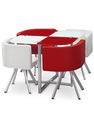 Table et chaises Mosaic 90 Blanc et Rouge p803blancrouge