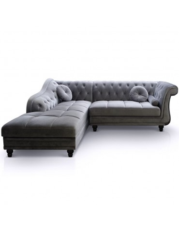 Canapé d'angle Brittish Velours Argent style Chesterfield a968vdargent