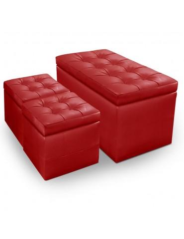 Banquette Coffre Panky + 2 poufs Rouge pa814rouge
