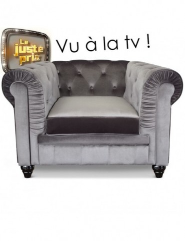 Fauteuil Chesterfield velours Argent A605-V-1-Argent
