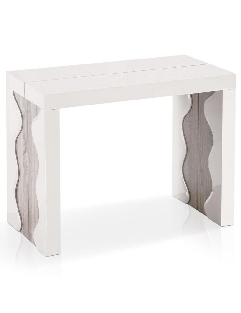 Table Console Ariel XL Laquée Ivoire & Chêne at8210lcheneivoire
