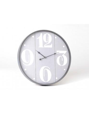 Horloge murale ronde gris en métal et verre D.56cm REFUGE DHO3723011Amadeus