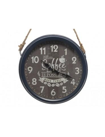 Horloge vintage en métal et suspension corde D.36cm KLOK DHO3889024Decoris