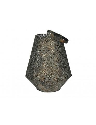 Lanterne en métal oxydé avec anse motif oriental ajouré TAGAWA DEC3769019