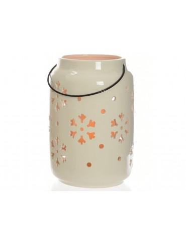 Lanterne LED en céramique blanche motif flocon D.15xH.22.5cm SHINEE DEC3705141