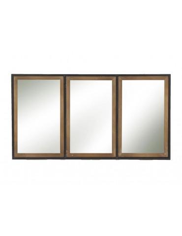 Miroir métal et bois 3 bandes 82x44x3cm STRUCTURE DMI3950015Pomax
