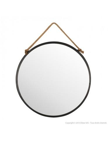 Miroir mural rond en métal noir suspendu par une corde D.70cm TALI DMI2971008