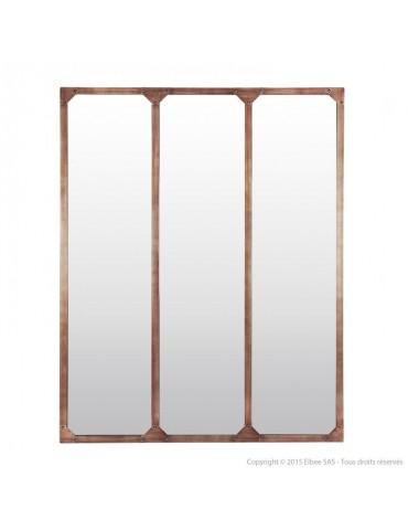 Miroir fenêtre triptyque en métal rectangulaire 120x95cm TEKE Ambré DMI4356008Delamaison
