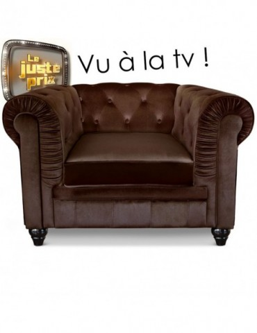 Fauteuil Chesterfield velours Marron A605-V-1-Marron