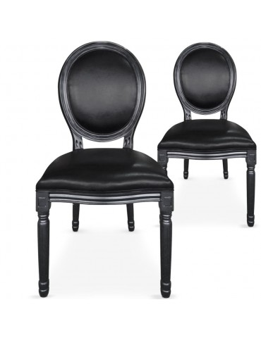 Lot de 2 chaises médaillon Louis XVI Simili (P.U) Noir 24501punoir