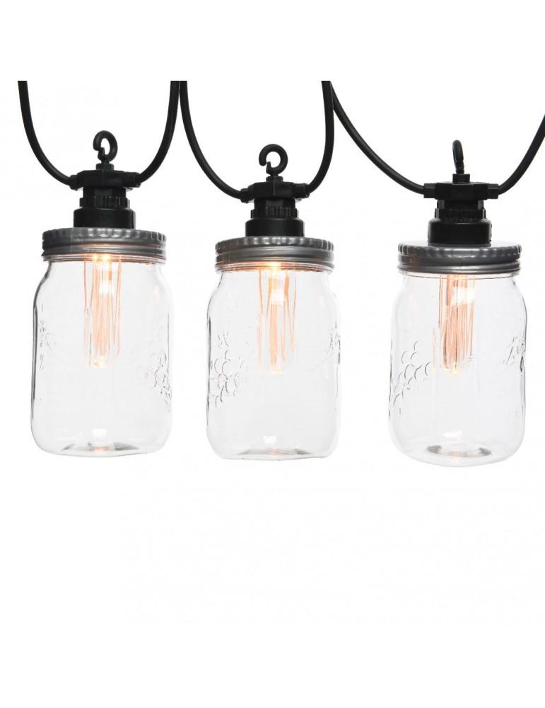 Guirlande extérieure LED noir en bocaux JAR JLE3887002Lumineo