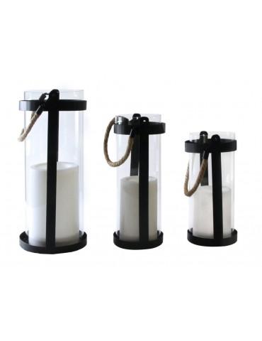 Lanterne LED noir blanc en verre effet flamme H30*D14cm RIVA IGU3954016Leblanc illumination